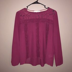 Purple Long-Sleeve Patterned Blouse